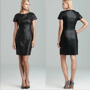 TAHARI Textured Faux Leather Dress